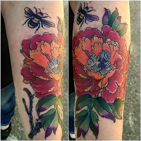 Peony and bumblebee tattoo by Custom tattoos by Adam Sky, San Francisco, California