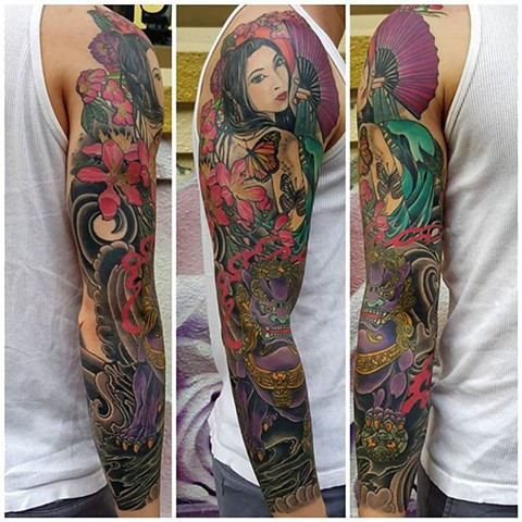Iron Fan Princess and Foo Dog Sleeve Tattoo by Custom tattoos by Adam Sky, San Francisco, California