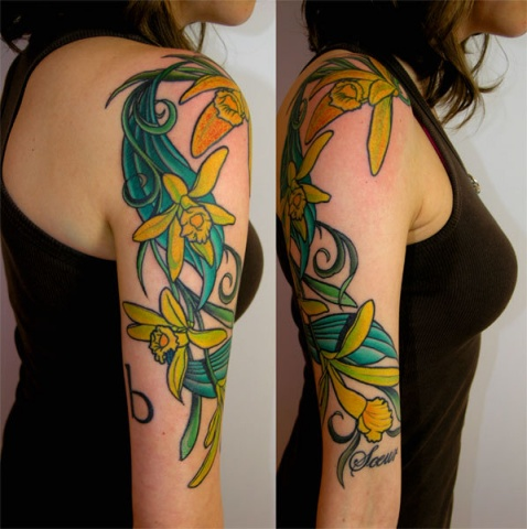 vanilla flowers tattoo by Custom tattoos by Adam Sky, San Francisco, California