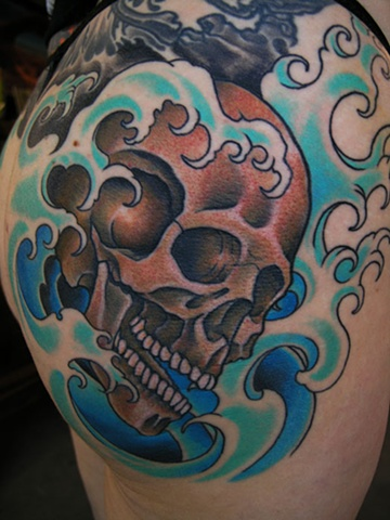 skull tattoo by Custom tattoos by Adam Sky, San Francisco, California
