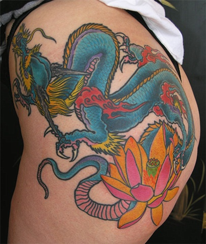 dragon and lotus tattoo by Adam Sky, San Francisco, California