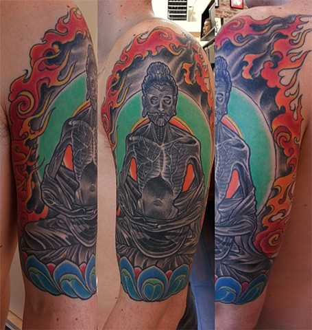 starving buddha tattoo by Custom tattoos by Adam Sky, San Francisco, California