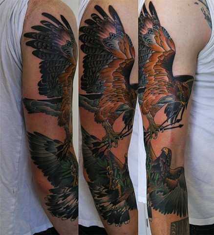 Marc's eagle tattoos by Custom tattoos by Adam Sky, San Francisco, California
