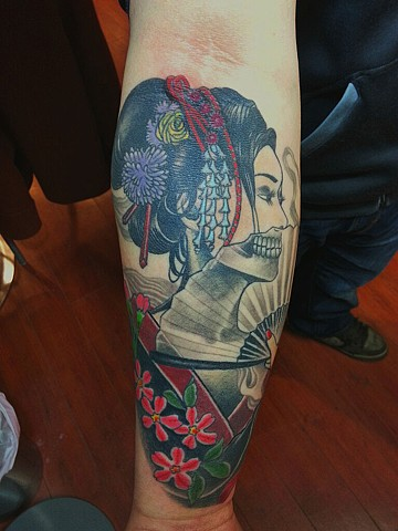 geisha skull tattoo by Custom tattoos by Adam Sky, San Francisco, California