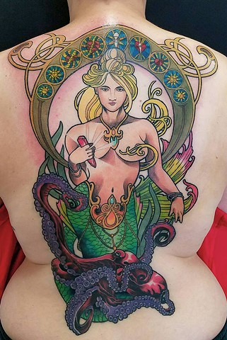 Mermaid and Octopus Tattoo by Adam Sky, San Francisco, California