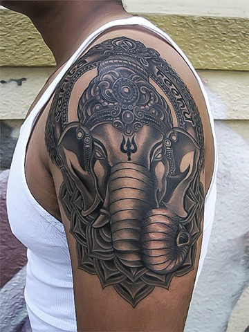Ganesh tattoo by Custom tattoos by Adam Sky, San Francisco, California