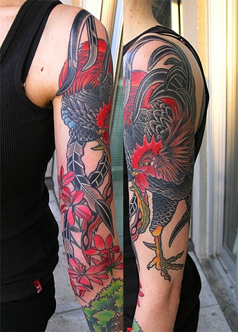 Rooster tattoo by Adam Sky, San Francisco, California