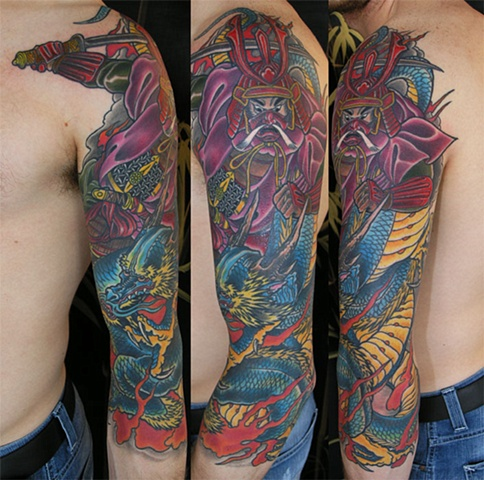 samurai and dragon sleeve tattoo by Custom tattoos by Adam Sky, San Francisco, California