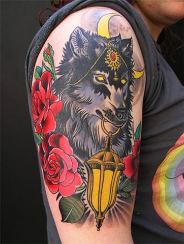 Cyn's Wolf and Lantern Tattoo by Custom tattoos by Adam Sky, San Francisco, California