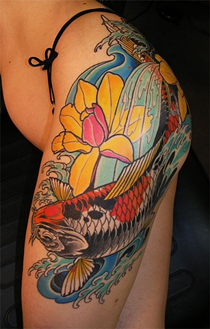 koi fish and magnolias tattoo by Custom tattoos by Adam Sky, San Francisco, California