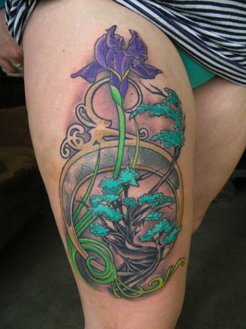 Art nouveua violet flower and tree tattoo by Adam Sky, San Francisco, California