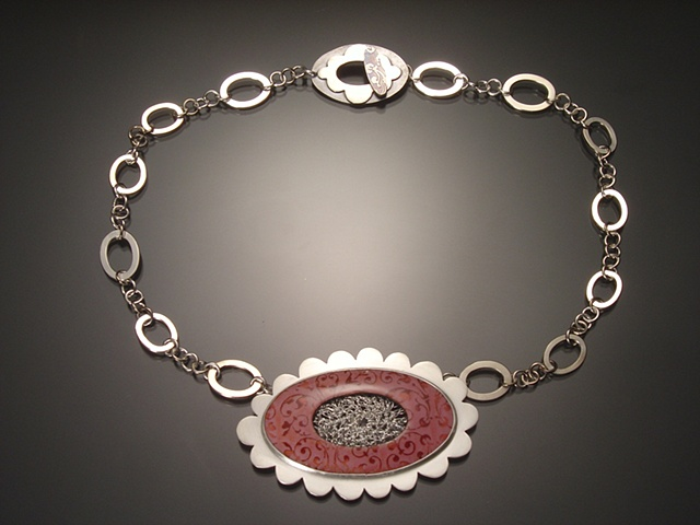 Large Pink Oval Necklace with Decorative Chain