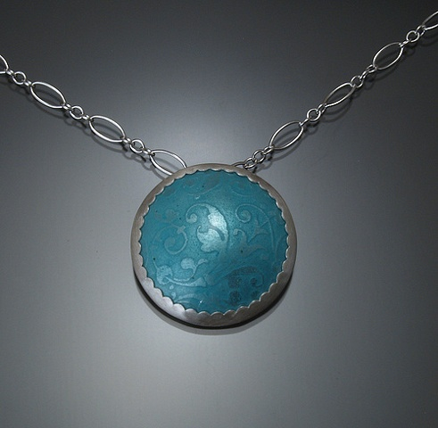 Blue Circle Enamel Necklace