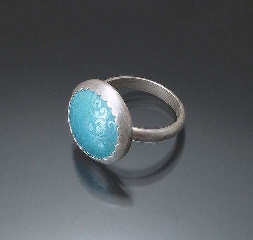 Blue Circle Enamel Ring