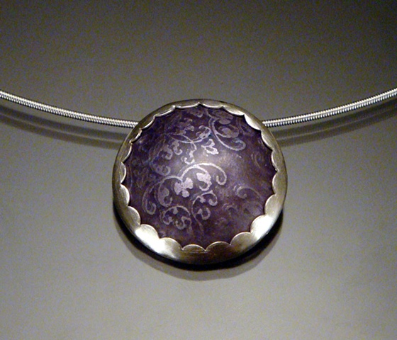 Purple Enamel Circle Necklace