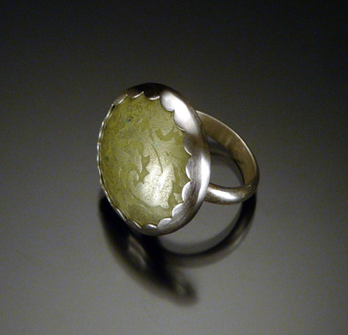 Green Enamel Circle Ring (large)
