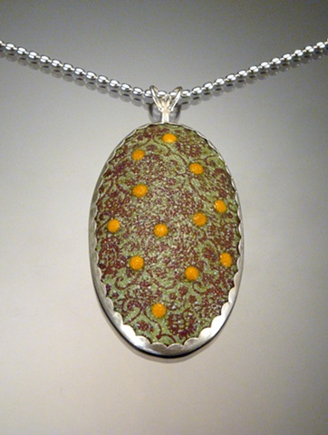 Lime Green Enamel Oval Wallpaper Necklace (large)