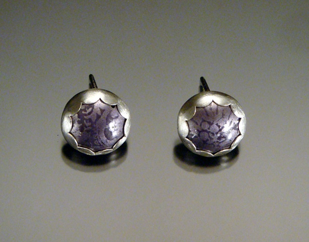 Purple Enamel Post Circle Earrings