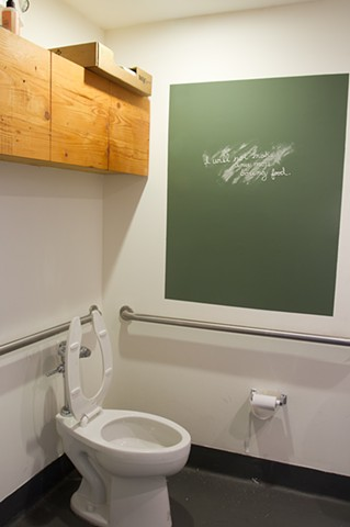 Installation view. Bathroom of 18 Reasons in San Francisco.