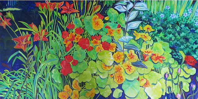 Hidden images in a flower garden with nasturtiums