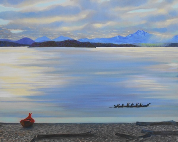 Native american boats in Alki, Painting by Patri O'Connor, The Olympic Range