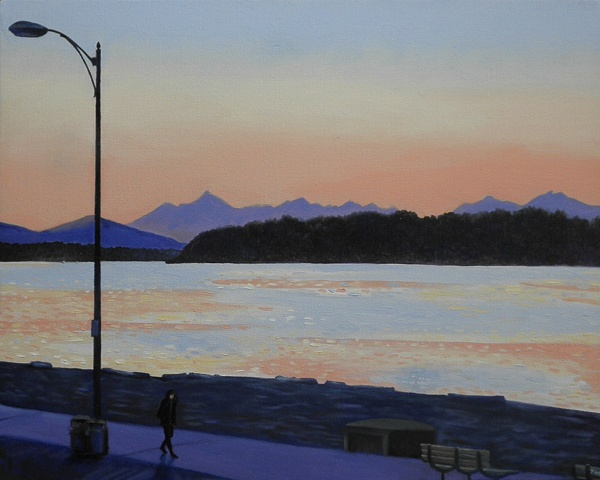 lone walker at twilight on Alki Beach painting by Patri O'Connor
