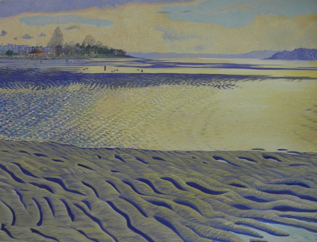 Alki bath house with winter light at lowtide painting by Patri O'Connor