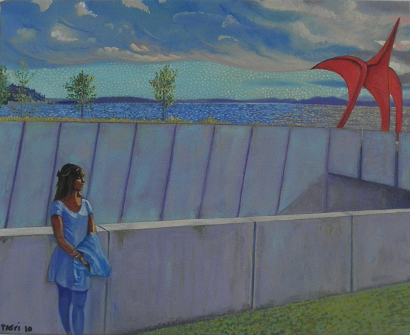 (Olympic Sculpture Park)salsa night for the Seattle Parks dance series, painting by Patri O'Connor