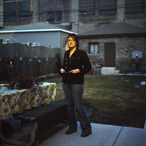 Shelley Zawadzki in her Parents Backyard, Bridgeport, Chicago
