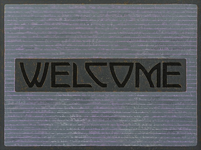 abstract gray welcome doormat oil painting by contemporary artist michael tarbi