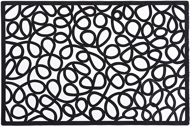 abstract ink drawing wrought iron doormat by artist michael tarbi