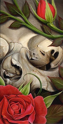 skull with roses 6 by 12