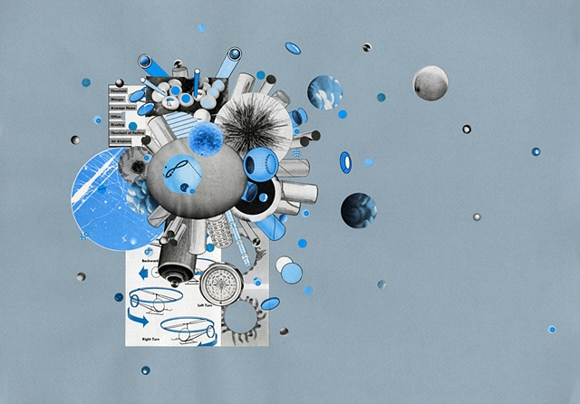Paper collage with blue and grey circle, sphere, and tube forms by Anne Roecklein