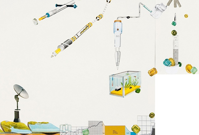 Large paper collage mounted on panels including a system of yellow tubes and implied landscape by Anne Roecklein.