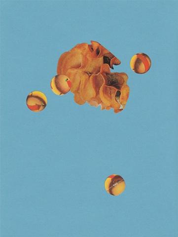 paper lure (orange ruffle and spheres on medium blue)