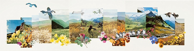 large landscape paper collage with mountains birds flowers by Anne Roecklein