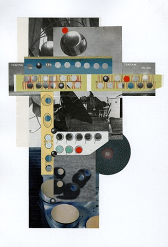 Paper collage with grey, blue, and red forms by Anne Roecklein