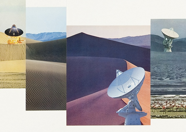 Large composite landscape paper collage including sand dunes and radio telescopes by Anne Roecklein.