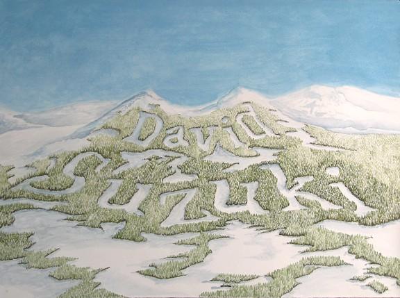 David Suzuki, Mountains, Painting, Landscape, Ski Hill, Skiing, Art, Anhorn