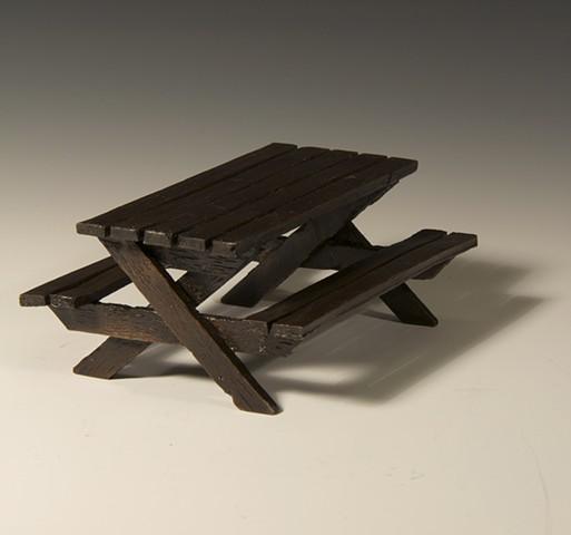 bronze, picnic, table, sculpture, anhorn