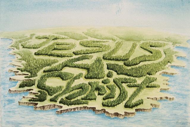 """""""Daniel Anhorn"""" painting, landscape, clearcut, """"Jesus H. Christ"""""""
