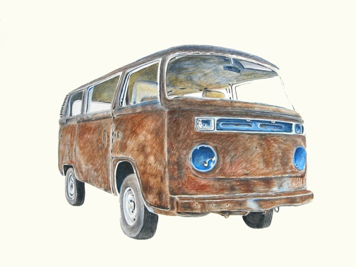 Rusted and Stripped Volkswagen Mini-Bus