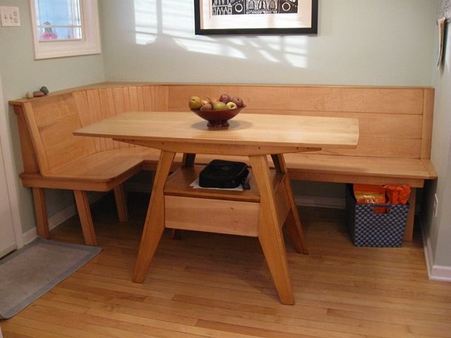Bill groot maple wood kitchen table and built in bench for Kitchen table bench seat