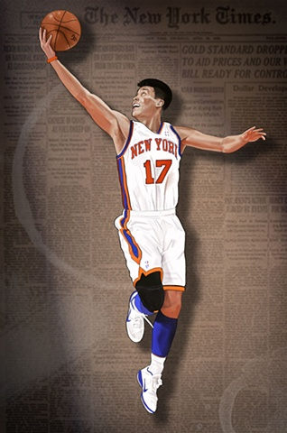 Jeremy Lin ascending to the hoop