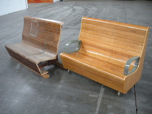 Beautifully restored 70 year old benches from the historic transbay terminal in San Francisco