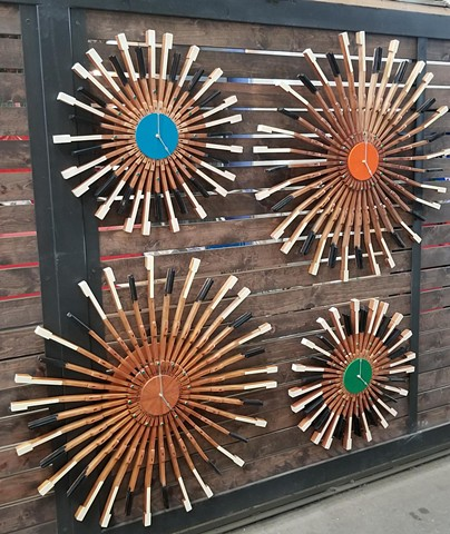 Clocks made from American Steel Studios pianos