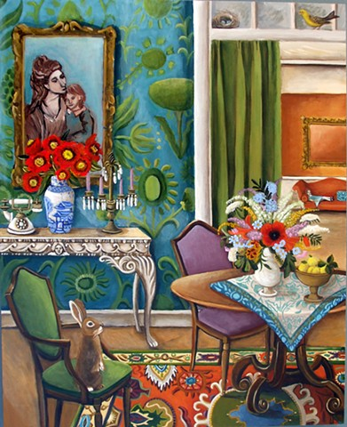 art, painting, interiors, mothers day, daughters, living room, chandelier, matisse, picasso, botanicals, rabiits, bunnies, french phone, catherine nolin, dequattro, emerging artist,