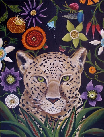 leopard painting, animal art, catherine nolin, flowers, jungle theme, painting, still life