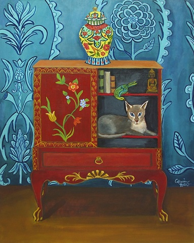 art, painting, catherine nolin, chinoiserie, siamese cat,