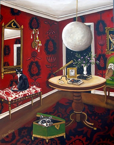 art, painting, cat, dog, thinker, flowers, botanical , astronomy, telescope, owls, raccoon, interiors, solar system